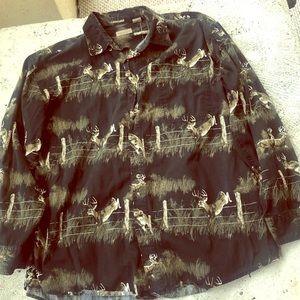 Nature Scene Rugged Earth Deer Button Down